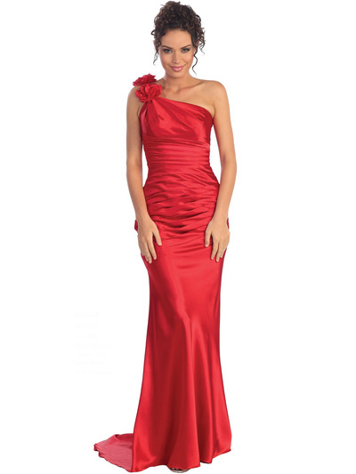 GL1018 One Shoulder Charmeuse Pleated Evening Gown - Red, Front View Medium