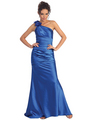 GL1018 One Shoulder Charmeuse Pleated Evening Gown - Royal, Front View Thumbnail