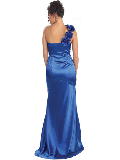 GL1018 One Shoulder Charmeuse Pleated Evening Gown - Royal, Back View Medium