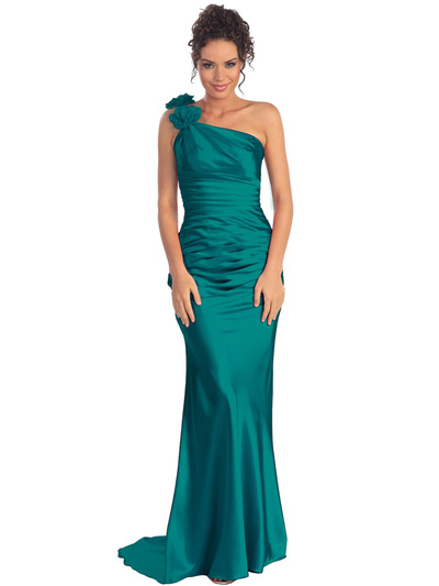 GL1018 One Shoulder Charmeuse Pleated Evening Gown - Teal, Front View Medium