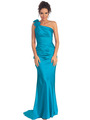 GL1018 One Shoulder Charmeuse Pleated Evening Gown - Turquoise, Front View Thumbnail