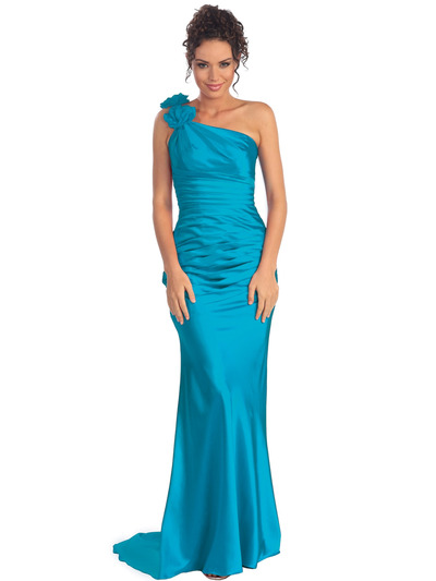 GL1018 One Shoulder Charmeuse Pleated Evening Gown - Turquoise, Front View Medium