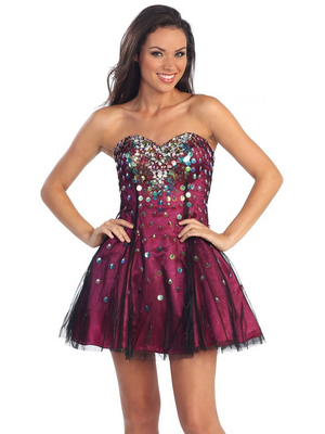 GL1023 Sequin and Tulle Overlay Party Dress, Fuschia