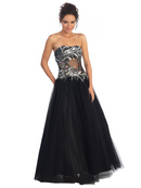 Strapless Dazzling Evening Tulle Gown