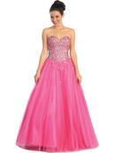 Jeweled Top Sweetheart Prom Gown