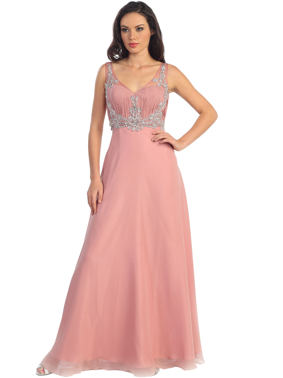 Sophisticated Tank Strap Embroidered Evening Gown | Sung Boutique L.A.