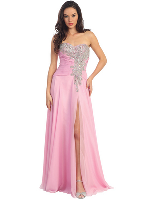 GL1114 Pleated Bodice Beaded Bustline Sweetheart Prom Dress, Pink