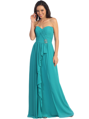 GL1125 Wrap Skirt Pleated Bodice Sweetheart Chiffon Evening Dress, Teal Blue