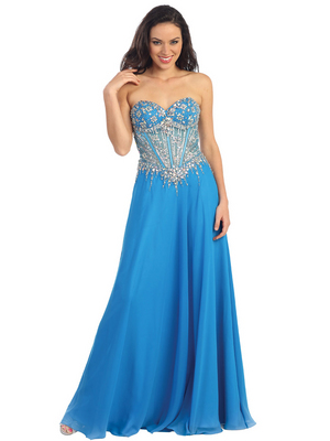 GL1132 Ocean Blue Sweetheart Neckline Embellished Bodice Prom Dress, Ocean Blue
