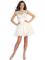 GL1140 Perky and Posh Party Cocktail Dress - White, Front View Thumbnail