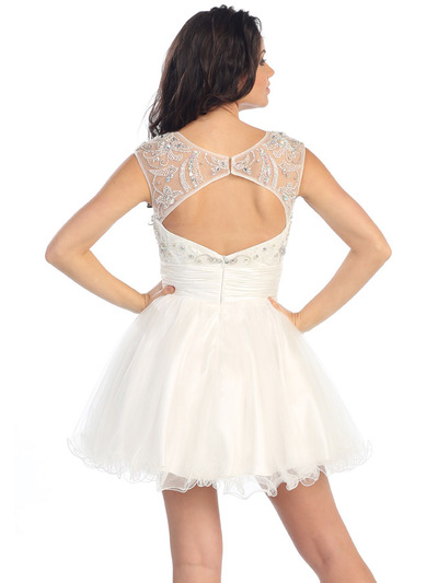GL1140 Perky and Posh Party Cocktail Dress - White, Back View Medium