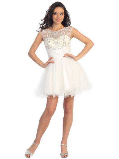 GL1140 Perky and Posh Party Cocktail Dress - White, Front View Medium