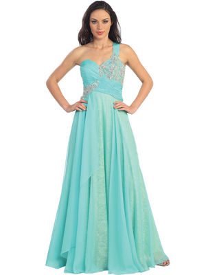 GL1154 One Shoulder Chiffon Over Lace Evening Dress, Tiffany
