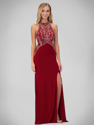 GL1302P Halter Beaded Top Evening Dress with Slit, Red