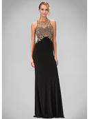 GL1303P High Neck Prom Evening Dress with Illusion Back, Black