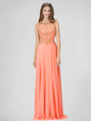 GL1305P Floor Length Beaded Chiffon Gown with Sheer Back, Coral
