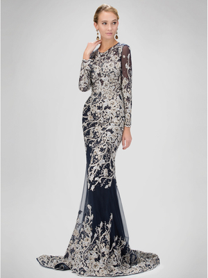 GL1307P Floral Beading Evening Dress with Court Train, Navy
