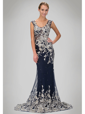 GL1308P Sleeveless Scoop Neck Evening Dress with Court Train, Navy
