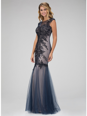 GL1309H Tulle Mermaid Prom Evening Dress with Corded Details, Navy