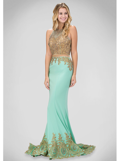 a13ec07287b2 GL1312D Mock Two Piece Prom Dress with Court Train - Tiffany, Front View  Medium ...
