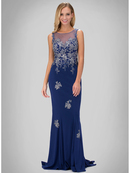 GL1314D Princess Illusion Scoop Neck Evening Dress with Train, Royal Blue