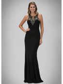 GL1315D High Neck Evening Dress with Sheer Back, Black