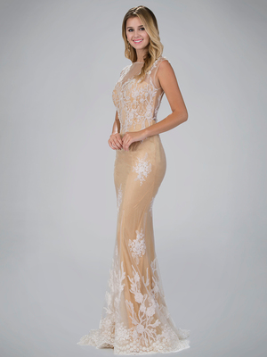 GL1317D Sheer Overlay Faux Pearl Long Prom Evening Dress, Nude