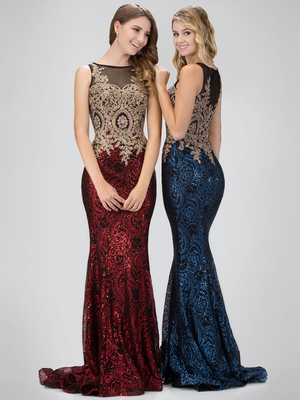 GL1319D Sleeveless Sheer Prom Evening Dress with Sequined Skirt, Red