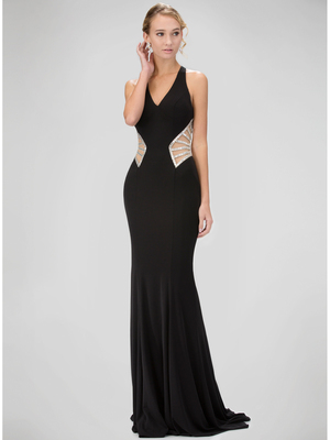 GL1320D Red Carpet V-Neck Evening Dress with Side Cutout , Black