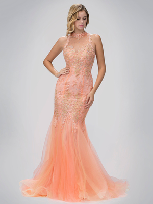 GL1321D High Neck Prom Evening Dress with Mermaid Flare, Peach