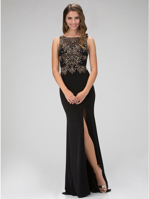 GL1322X Sleeveless Embellished Top Evening Dress with Slit, Black