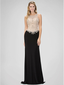 GL1323X Sleeveless Embroidered Bodice Evening Dress , Black