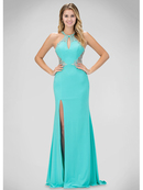 GL1324X Halter Top Prom Evening Dress with Slit, Baby Blue