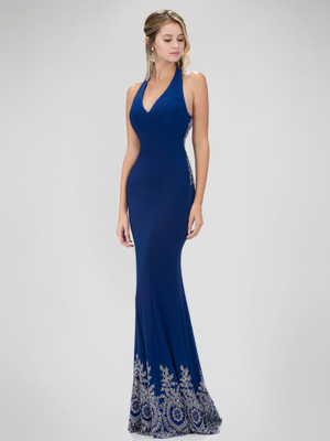 GL1325X Red Carpet Inspired Halter Top Prom Evening Dress with Train, Blue