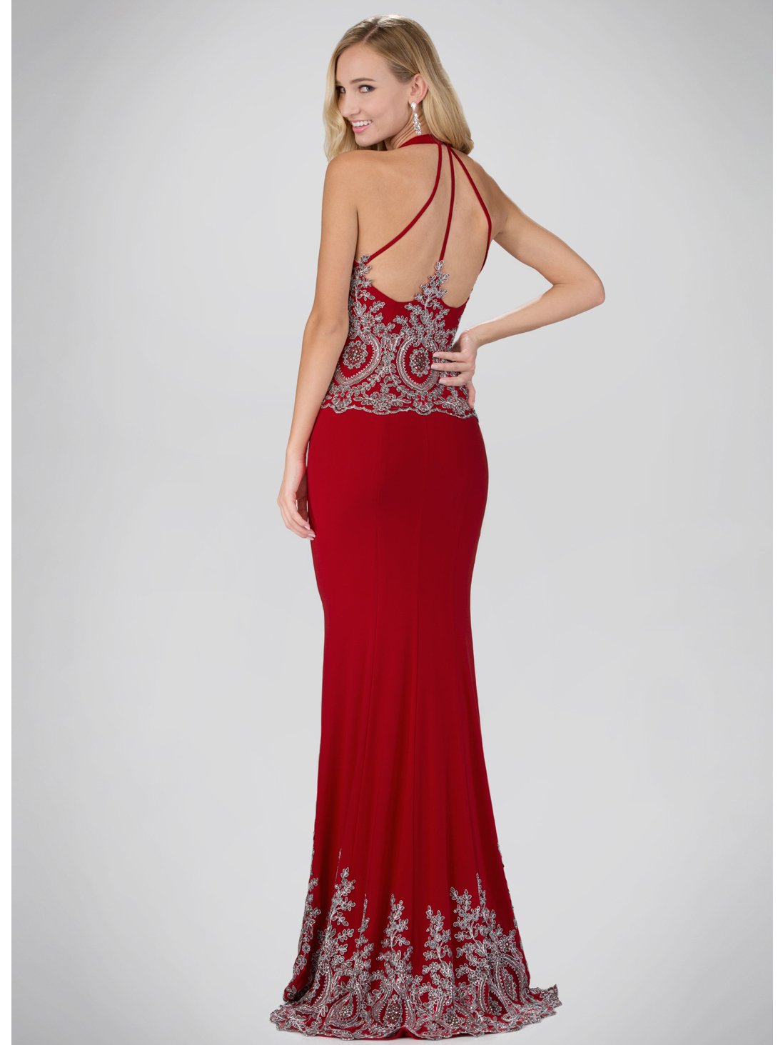 Red Carpet Inspired Halter Top Evening Dress with Train | Sung ...