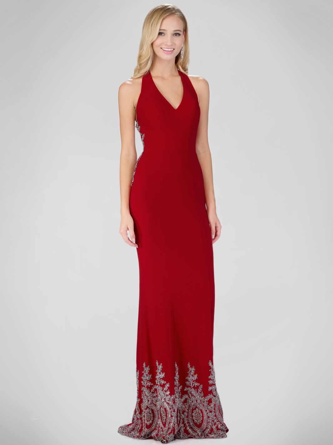 Red Carpet Inspired Halter Top Evening Dress With Train