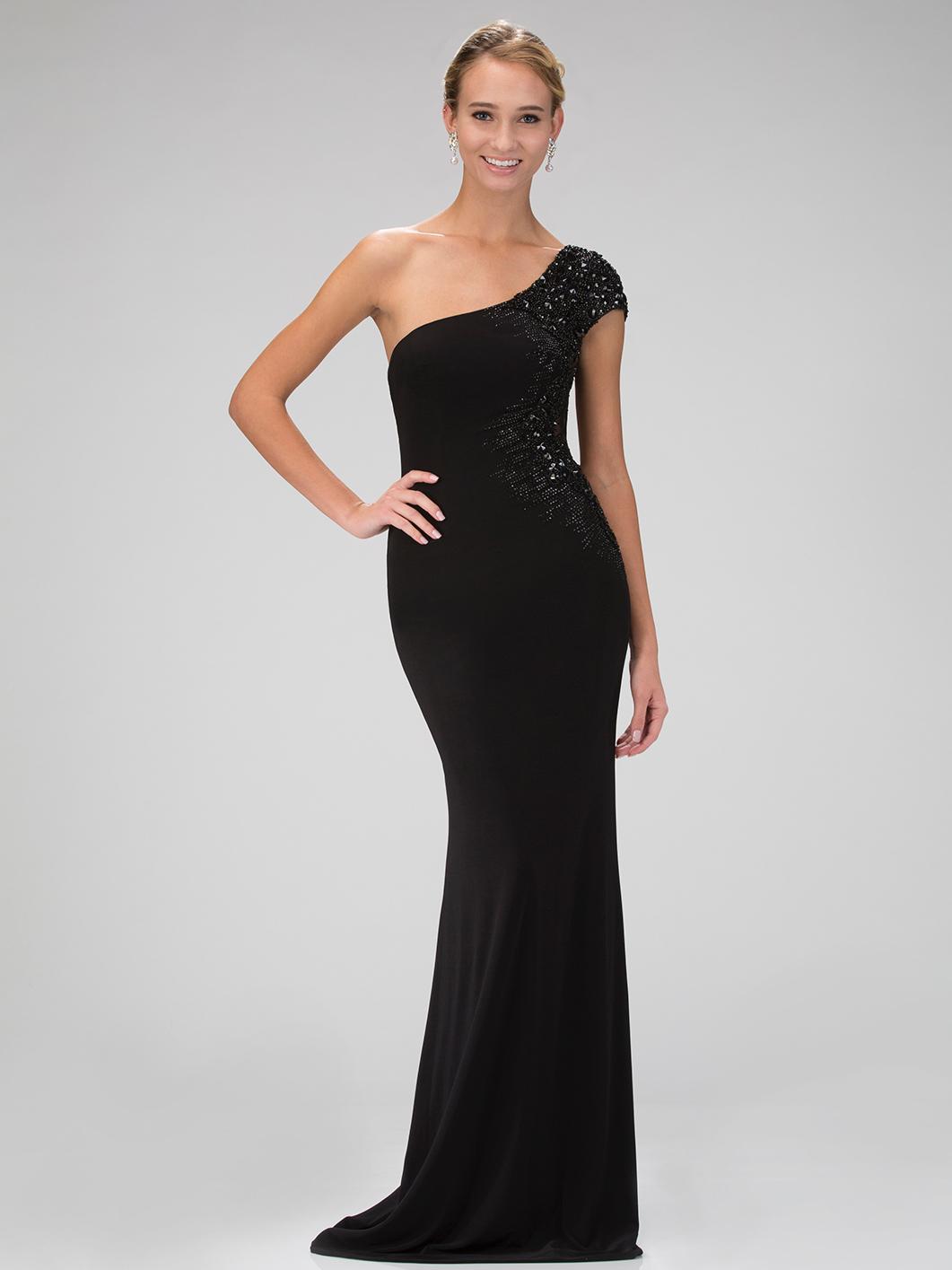 One Shoulder Evening Dress with Sheer Back | Sung Boutique ... One Shoulder Black Prom Dress