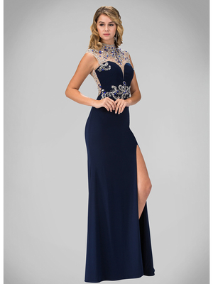 GL1327X Sleeveless High Neck Jeweled Prom Evening Dress with Slit, Navy
