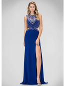 GL1328X Beaded Bodice Prom Evening Dress with Side Cutout, Royal Blue