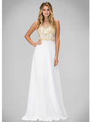 GL1329X Illusion High Neck Evening Dress with Cutout Back, Ivory
