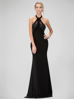 GL1330X Thin Strapped Halter Top Prom Evening Dress, Black