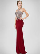 GL1331X Illusion Embellished Bodice Prom Evening Dress with Cutout Back, Burgundy