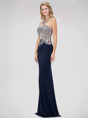 GL1331X Illusion Embellished Bodice Prom Evening Dress with Cutout Back, Navy
