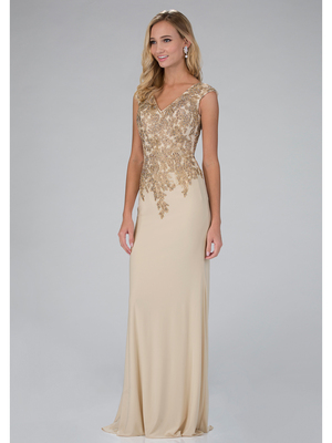 GL1333X Cap Sleeve Floor Length Mother of the Brides Evening Dress, Champagne