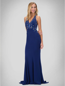 GL1337D Halter Beaded Top Prom Evening Dress, Royal Blue
