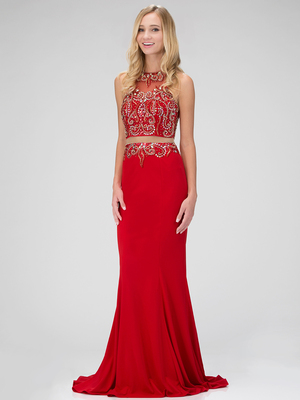 GL1338D Mock Two Piece Embellished Prom Dress with Train, Red