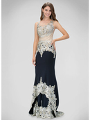 GL1342D Sleeveless Prom Evening Dress with Sheer Back, Navy