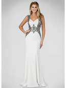 GL1347P Form Fitted Evening Dress with Sheer Back, Ivory