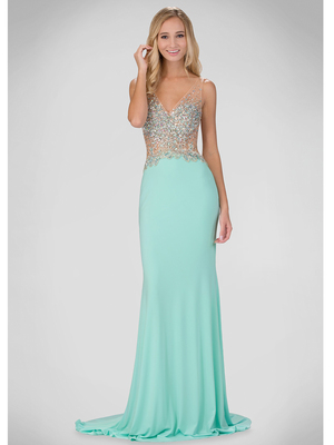 GL1349P Illusion Bodice Evening Dress with Sparkle Design, Mint
