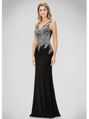 GL1351P V-neck Evening Dress with Jeweled Applique, Black